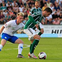 28.08.2019, Stadion Lohmühle, Luebeck, GER,  VFB Lübeck/Luebeck vs VfL Wolfsburg IIi<br /> <br /> DFB REGULATIONS PROHIBIT ANY USE OF PHOTOGRAPHS AS IMAGE SEQUENCES AND/OR QUASI-VIDEO.<br /> <br /> im Bild / picture shows<br /> Dominik Marx VfL Wolfsburg II im Zweikampf gegen Ahmet Arslan  (VfB Luebeck)<br /> <br /> Foto © nordphoto / Tauchnitz