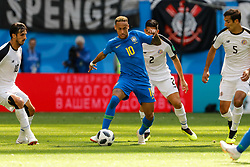 June 22, 2018 - Saint Petersburg, Russia - Neymar (C) of Brazil national team in action against Bryan Ruiz (L), Johnny Acosta and Celso Borges (R) of Costa Rica national team during the 2018 FIFA World Cup Russia group E match between Brazil and Costa Rica on June 22, 2018 at Saint Petersburg Stadium in Saint Petersburg, Russia. (Credit Image: © Mike Kireev/NurPhoto via ZUMA Press)
