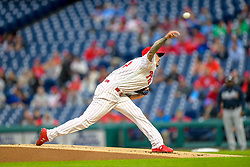 May 22, 2018 - Philadelphia, PA, U.S. - PHILADELPHIA, PA - MAY 22: Philadelphia Phillies starting pitcher Vince Velasquez (28) releases his pitch during the MLB game between the Atlanta Braves and the Philadelphia Phillies on May 22, 2018 at Citizens Bank Park in Philadelphia PA. (Photo by Gavin Baker/Icon Sportswire) (Credit Image: © Gavin Baker/Icon SMI via ZUMA Press)
