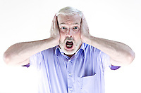 caucasian senior man portrait scream afraid isolated studio on white background
