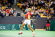 Rafael Nadal winning the first point for Spain during their Davis Cup