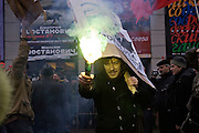 Moscow, Russia, 16/12/2006.&#xA;A radical demonstrator waves flares during the anti government March Of Dissenters. Several thousand opposition demonstrators gathered in central Moscow under the banner of the Other Russia movement led by Garry Kasparov. A planned march was banned, and the demonstrators held a meeting in a central square instead.<br />