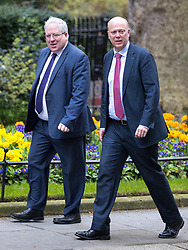 © Licensed to London News Pictures . 29/03/2017 . London , UK . PATRICK McLOUGHLIN and CHRIS GRAYLING arrive . Ministers arriving and leaving for a Cabinet meeting and Prime Minster's Questions , at 10 Downing Street , Westminster . Today (29th March 2017) the British Government will trigger Article 50 of the Lisbon Treaty and commence Britain's withdrawal from the European Union . Photo credit : Joel Goodman/LNP