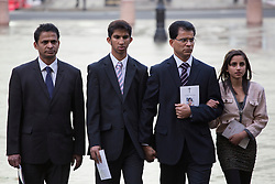 © licensed to London News Pictures. London, UK. 15/12/2012. The son Junal (second left), husband Ben Barboza (centre) and The daughter Lisha (right), of nurse Jacinta Saldanha arrive at Westminster Cathedral in London to attend a memorial service with Keith Vaz (not pictured) held for Jacinta Saldanha who committed suicide. Photo credit: Tolga Akmen/LNP