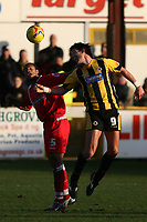 Photo: Pete Lorence.<br />Boston United v Swindon Town. Coca Cola League 2. 20/01/2007.<br />Jerel Ifil and Drewe Broughton battle for the ball.