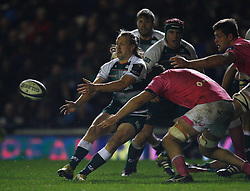 Sam Harrison of Leicester Tigers (L) in action - Mandatory byline: Jack Phillips / JMP - 07966386802 - 13/11/15 - RUGBY - Welford Road, Leicester, Leicestershire - Leicester Tigers v Stade Francais - European Rugby Champions Cup Pool 4