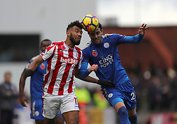 Stoke City's Eric Maxim Choupo-Moting (left) and Leicester City's Vicente Iborra battle for the ball during the Premier League match at the bet365 Stadium, Stoke-on-Trent.