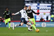 Brighton & Hove Albion midfielder Jiri Skalak (8) and Preston North End defender Marnick Vermijl (2) during the EFL Sky Bet Championship match between Preston North End and Brighton and Hove Albion at Deepdale, Preston, England on 14 January 2017.