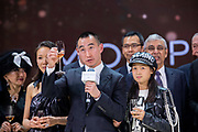 Lawrence Ho, Chairman and CEO of Melco Resorts & Entertainment, makes a toast at the Opening Gala Dinner during Melco Morpheus building Opening in Macau, China, on 15 June 2018. Photo by Lucas Schifres