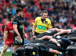 Referee George Clancy oversees the scrum<br /> <br /> Photographer Simon King/Replay Images<br /> <br /> Guinness PRO14 Round 19 - Scarlets v Glasgow Warriors - Saturday 7th April 2018 - Parc Y Scarlets - Llanelli<br /> <br /> World Copyright © Replay Images . All rights reserved. info@replayimages.co.uk - http://replayimages.co.uk