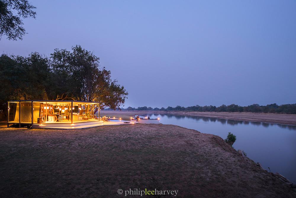 Exterior view of Chinzombo Safari Lodge, Luangwa River Valley. Zambia, Africa