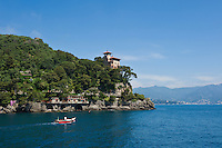 Clifftop house at entrance to Portofino bay, Portofino, Liguria, Italy