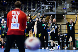 Team Germany celebrates during handball match between National Teams of Germany and Slovenia at Day 2 of IHF Men's Tokyo Olympic  Qualification tournament, on March 13, 2021 in Max-Schmeling-Halle, Berlin, Germany. Photo by Vid Ponikvar / Sportida