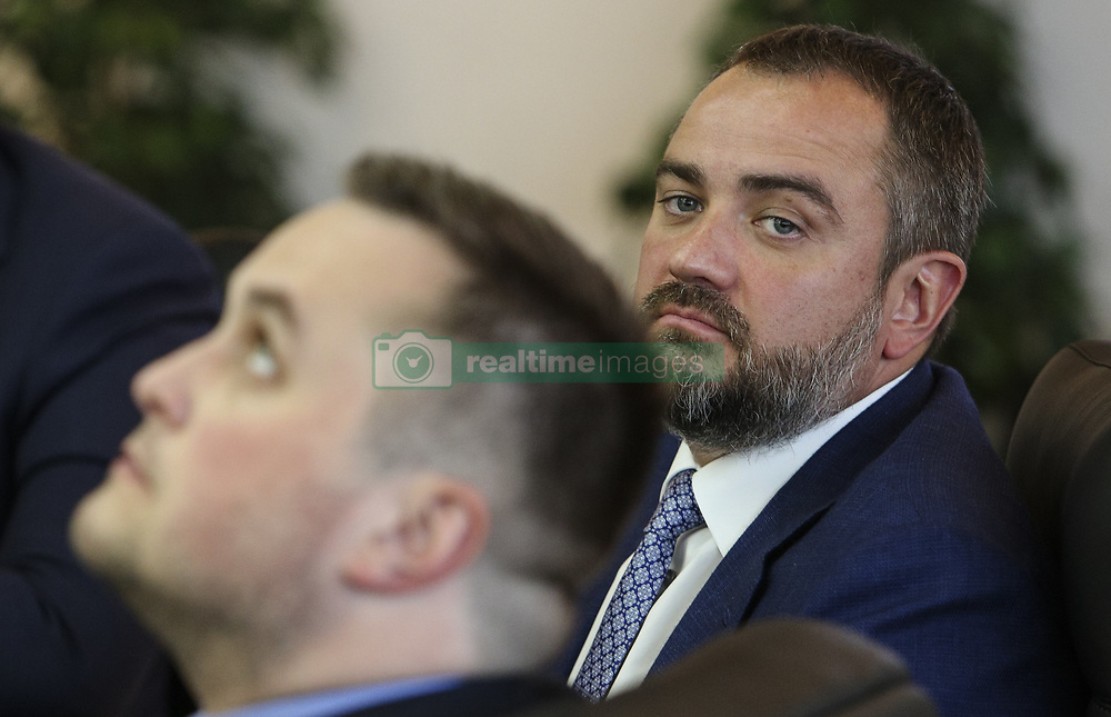 May 22, 2018 - Kiev, Ukraine - President of Football Federation of Ukraine Andriy Pavelko is seen during the press conference in Kyiv, Ukraine, May 22, 2018. Ukrainian police in cooperation with Specialized Anti-Corruption Prosecutor's Office (SAPO) investigate the case on match-fixing by referees, FC's presidents and top management of National Football Federation. (Credit Image: © Sergii Kharchenko/NurPhoto via ZUMA Press)