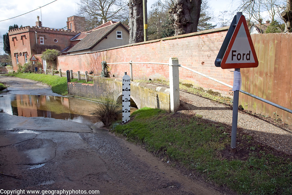 Road passing through ford on River Lark, Grundisburgh, Suffolk