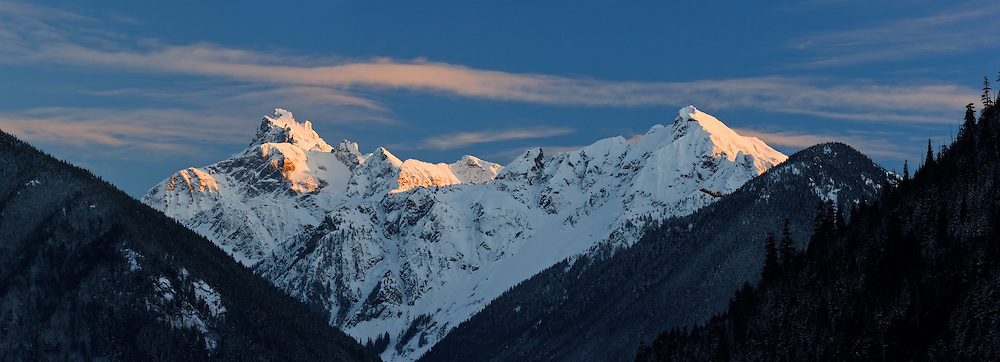 Alpenglow on Mount Redoubt and Nodoubt Peak in North Cascades National Park - taken from Chilliwack Lake Provincial Park, BC.