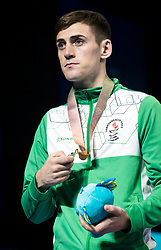 Northern Ireland's Aidan Walsh with his silver medal following the Men's Welter (69kg) final at Oxenford Studios during day ten of the 2018 Commonwealth Games in the Gold Coast, Australia.