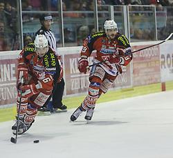 14.12.2014, Stadthalle, Klagenfurt, AUT, EBEL, EC KAC vs Dornbirner Eishockey Club, 27. Runde, im Bild Patrick Harand (EC KAC, #16), Jean-Francoir Jacques (EC KAC, #39) // during the Erste Bank Icehockey League 27th round match betweeen EC KAC and Dornbirner Eishockey Club at the City Hall in Klagenfurt, Austria on 2014/12/14. EXPA Pictures © 2014, PhotoCredit: EXPA/ Gert Steinthaler