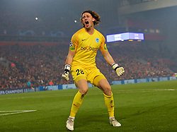 LIVERPOOL, Nov. 6, 2019  Genk's goalkeeper Gaetan Coucke celebrates his side's equalising goal during the UEFA Champions League Group E match soccer between Liverpool FC and KRC Genk at Anfield in Liverpool, Britain on Nov. 5, 2019.  FOR EDITORIAL USE ONLY. NOT FOR SALE FOR MARKETING OR ADVERTISING CAMPAIGNS. NO USE WITH UNAUTHORIZED AUDIO, VIDEO, DATA, FIXTURE LISTS, CLUB/LEAGUE LOGOS OR ''LIVE'' SERVICES. ONLINE IN-MATCH USE LIMITED TO 45 IMAGES, NO VIDEO EMULATION. NO USE IN BETTING, GAMES OR SINGLE CLUB/LEAGUE/PLAYER PUBLICATIONS. (Credit Image: © Han Yan/Xinhua via ZUMA Wire)