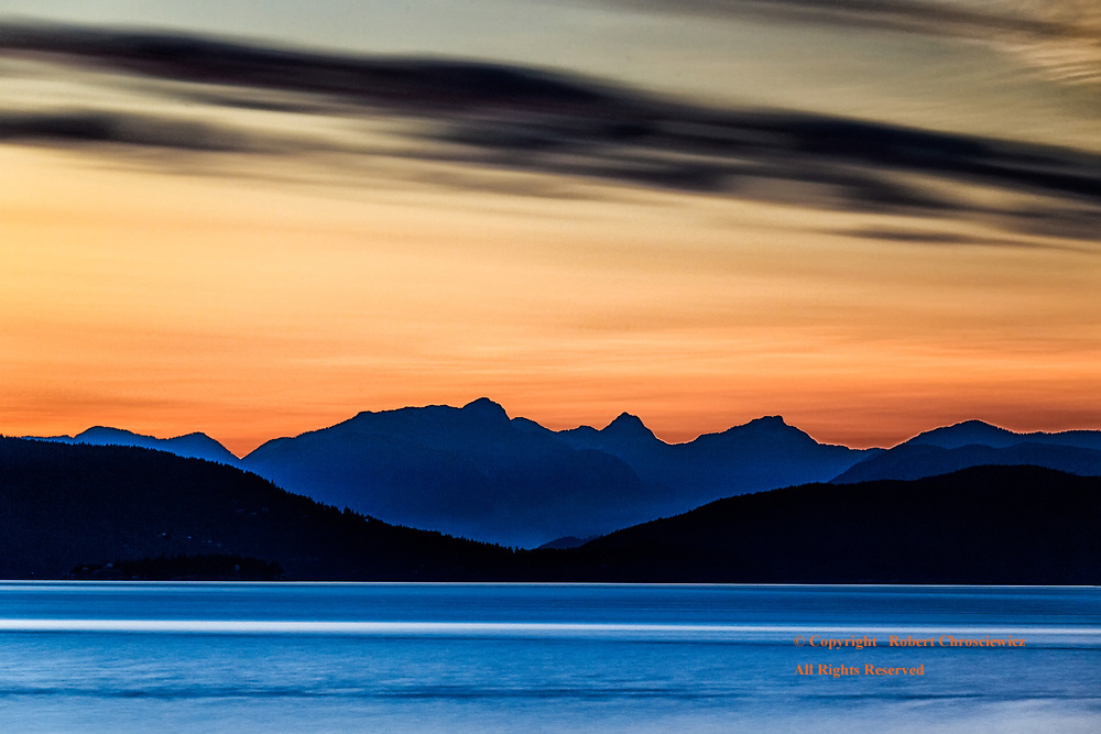 North Shore: Sunset over the spectacular North Shore Mountains, Vancouver British Columbia Canada.