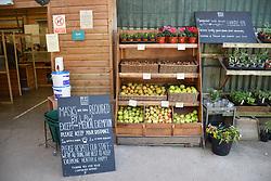 Covid information at Ben's Farm shop near Totnes, Devon UK Oct 2020