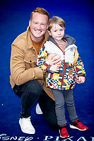 Greg Rutherford and his son Milo at the 'Onward' film premiere, Curzon Mayfair, London, UK - 23 Feb 2020 photo by Brian Jordan