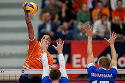 17-09-2019 NED: EC Volleyball 2019 Netherlands - Estonia, Amsterdam<br /> First round group D Netherlands win 3-1 / Nimir Abdelaziz #14 of Netherlands