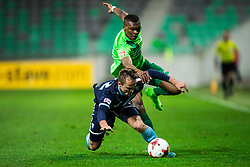 Matija Boben of Gorica vs Blessing Eleke of NK Olimpija during football match between NK Olimpija Ljubljana and ND Gorica in Round #26 of Prva liga Telekom Slovenije 2016/17, on March 29, 2017 in SRC Stozice, Ljubljana, Slovenia. Photo by Vid Ponikvar / Sportida