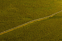 Aerial view above the Trans-Alaska Crude Oil Pipeline (Alyeska Pipeline) north of Fairbanks, Alaska