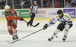 14.12.2014, Stadthalle, Klagenfurt, AUT, EBEL, EC KAC vs Dornbirner Eishockey Club, 27. Runde, im Bild Jason Desantis (EC KAC, #5), Nikolas Petrik (Dornbirner Eishockey Club, #12) // during the Erste Bank Icehockey League 27th round match betweeen EC KAC and Dornbirner Eishockey Club at the City Hall in Klagenfurt, Austria on 2014/12/14. EXPA Pictures © 2014, PhotoCredit: EXPA/ Gert Steinthaler