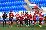the players warm up during the Wales football team training at the Cardiff City Stadium in Cardiff, South Wales on Wed 23rd March 2016. The team are preparing for their forthcoming friendly against Northern Ireland.<br /> pic by  Andrew Orchard, Andrew Orchard sports photography.