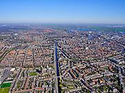 Nederland, Noord-Holland, Haarlem;  03-23-2020; overzicht Haarlem met rivier Het Spaarne, vanuit het zuidoosten. In het centrum de De Grote of St. Bavokerk te Haarlem, rechts van de rivier de Koepelgevangenis. <br /> Overview Haarlem with river Het Spaarne, from the southeast. In the center the De Grote or St. Bavokerk and the Dome  prison (Koepelgevangenis).<br /> <br /> luchtfoto (toeslag op standard tarieven);<br /> aerial photo (additional fee required)<br /> copyright © 2020 foto/photo Siebe Swart