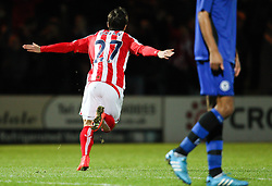 Stoke City's Bojan Krkic celebrates after scoring the opening goal - Photo mandatory by-line: Matt McNulty/JMP - Mobile: 07966 386802 - 26/01/2015 - SPORT - Football - Rochdale - Spotland Stadium - Rochdale v Stoke City - FA Cup Fourth Round