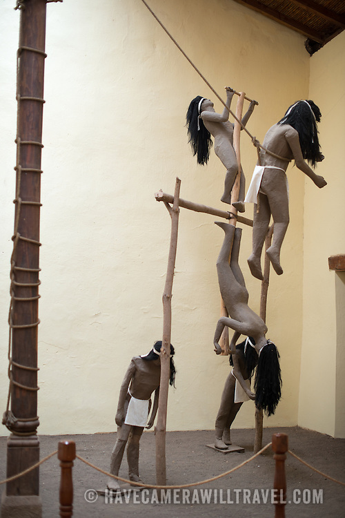 A life-size display of a Maya pole ceremony on display at the Centro Cultural Convento San Francisco. The The Centro Cultural Convento San Francisco, located just a couple of blocks from Parque Central in Granada, is dedicated to the history of the region.