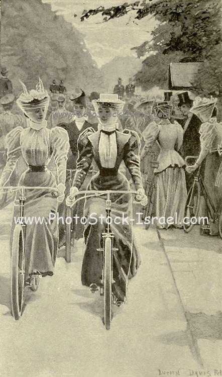 The latest Style of female cyclists from the book Cycling by The right Hon. Earl of Albemarle, William Coutts Keppel, (1832-1894) and George Lacy Hillier (1856-1941); Joseph Pennell (1857-1926) Published by London and Bombay : Longmans, Green and co. in 1896. The Badminton Library [Next thing you know they will want to vote ....]
