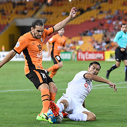 BRISBANE, AUSTRALIA - FEBRUARY 21: Jack Hingert of the Roar has his shot on goal blocked by Adison Promrak of Muangthong United during the Asian Champions League Group Stage match between the Brisbane Roar and Muangthong United FC at Suncorp Stadium on February 21, 2017 in Brisbane, Australia. (Photo by Patrick Kearney/Brisbane Roar)