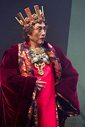 © Licensed to London News Pictures. 21/05/2015. London, UK. Pictured: Mikijiro Hira as Claudius/Ghost of Hamlet's Father. The Ninagawa Company returns to the Barbican and perform Hamlet by Shakespeare under the direction of Yukio Ninagawa. With Tatsuya Fujiwara as Hamlet. Performances in Japanese with English surtitles from 21 to 24 May 2015. Photo credit : Bettina Strenske/LNP