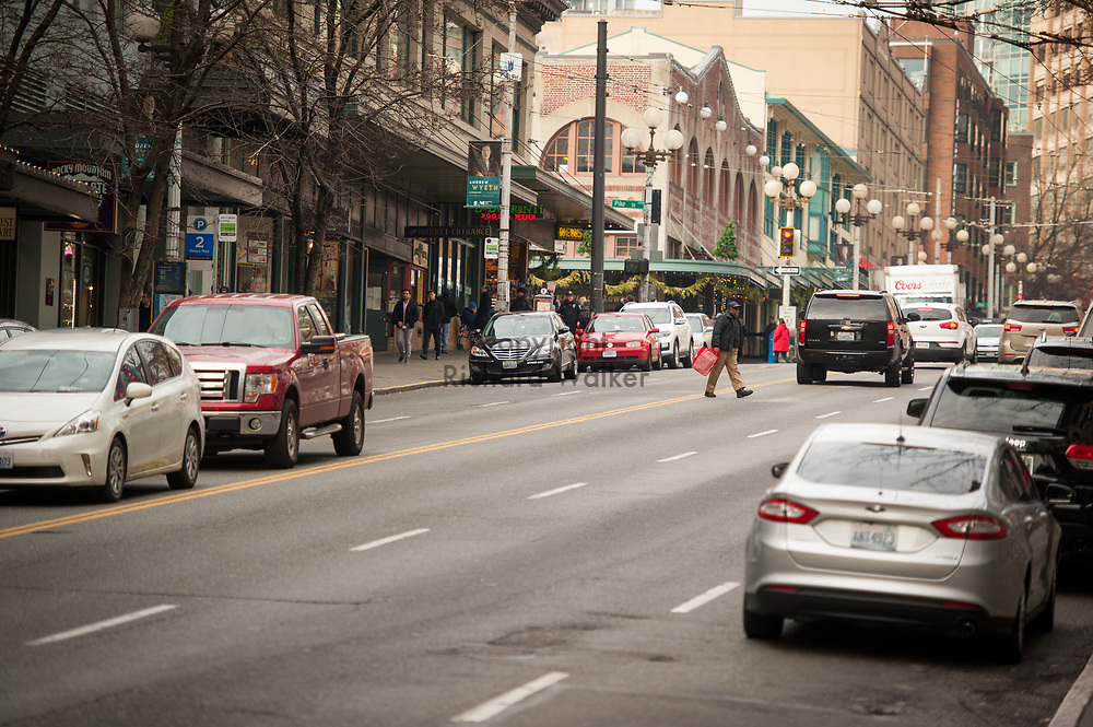 2017 DECEMBER 12 - View of 1st Ave looking north near Pike Place Market, Seattle, WA, USA. By Richard Walker