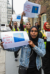 London, UK. 17 July, 2019. Members of the Somali community, NUS Black Students and supporters prepare to march from the Department for Education to Parliament Square to call for a full investigation into the death of Somali refugee girl Shukri Abdi, aged 12 from Bury, who died in the river Irwell on 27th June. Credit: Mark Kerrison/Alamy Live News