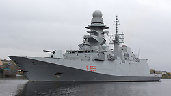 Pictured:Italian Navy LUIGI RIZZO (F595) Frgate. leaves King George V Dock, Govan Glasgow heading out to take part in Joint Warrior 172 Formidable Shield Exercises.<br /> <br /> <br /> © stephen smyth EEm