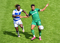 Football - 2019 / 2020 Sky Bet (EFL) Championship - Queens Park Rangers vs. Sheffield Wednesday<br /> <br /> Sheffield Wednesday's Jacob Murphy holds off the challenge from Queens Park Rangers' Osman Kakay, at Kiyan Prince Foundation Stadium (Loftus Road).<br /> <br /> COLORSPORT/ASHLEY WESTERN