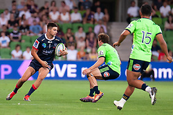 March 1, 2019 - Victoria, VIC, U.S. - MELBOURNE, AUSTRALIA - MARCH 01: Jack Maddocks (14) of the Melbourne Rebels runs the ball at The Super Rugby match between Melbourne Rebels and Highlanders on March 01, 2019 at AAMI Park, VIC. (Photo by Speed Media/Icon Sportswire) (Credit Image: © Speed Media/Icon SMI via ZUMA Press)