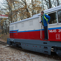 Engine passes a semaphore as it leaves station of the Children's Railway in a forest in the Buda Hills in Budapest, Hungary on November 15, 2014. ATTILA VOLGYI