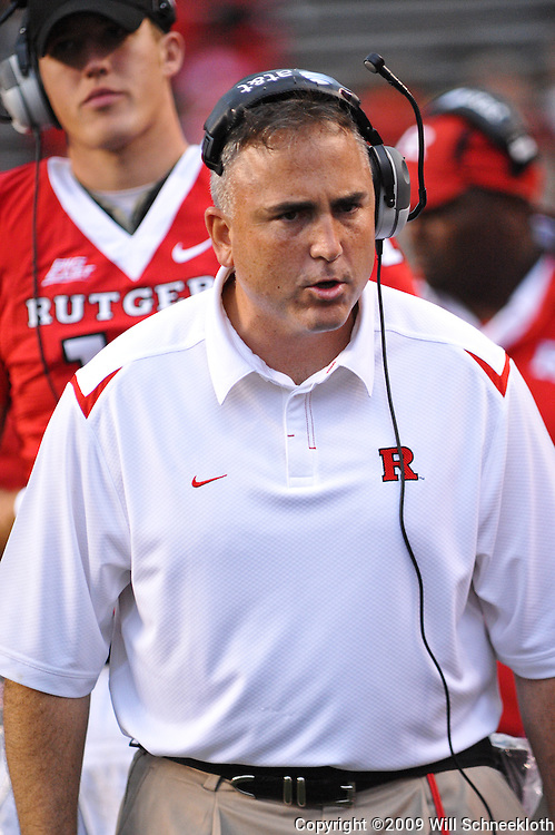 Sep 12, 2009; Piscataway, NJ, USA; Rutgers assistant head coach Kyle Flood instructs linemen during the second half of Rutgers' 45-7 victory over Howard in NCAA college football at Rutgers Stadium