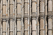 Detail of terracotta column forming part of main entrance to the Romanesque.Natural History Museum (1860 to 1880). The design was inspired by basalt columns.at Fingal's Cave in western Scotland. Built by the architect Alfred Waterhouse. London, UK, 2008