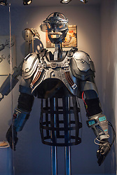 © licensed to London News Pictures. London, UK 05/07/2012. Gustav Graves's chest armour which have been used in Die Another Day, being shown with many Bond items which have been used in the movies in the last 50 years at Designing 007 exhibition at Barbican Centre. Photo credit: Tolga Akmen/LNP
