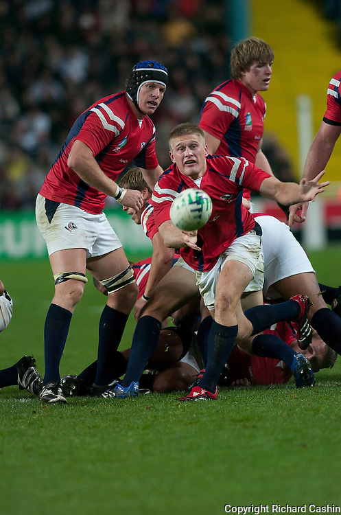 Philip Eloff acts as scrum half during the 2007 Rugby World Cup pool game between Samoa and USA at Stade Geoffroy-Guichard in Saint-Étienne, France
