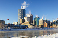Downtown Calgary and the Bow River on a sunny cold and sunny morning.<br /> <br /> ©2014, Sean Phillips<br /> http://www.RiverwoodPhotography.com