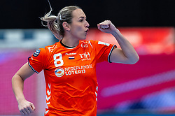 Lois Abbingh of Netherlands celebrate during the Women's EHF Euro 2020 match between Netherlands and Germany at Sydbank Arena on december 14, 2020 in Kolding, Denmark (Photo by RHF Agency/Ronald Hoogendoorn)
