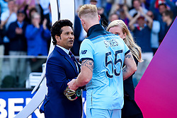 Ben Stokes of England receives his Man of the Match award after playing a major part in his side's World Cup Final win - Mandatory by-line: Robbie Stephenson/JMP - 14/07/2019 - CRICKET - Lords - London, England - England v New Zealand - ICC Cricket World Cup 2019 - Final